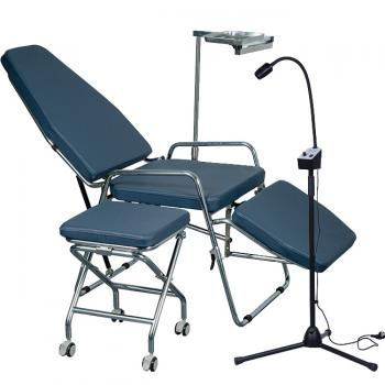 Greeloy GU-P101 Foldable Dental Chair + Greeloy GU-P102 Dental Folding Operating Light + Greeloy GU-P103 Portable Folding Stools