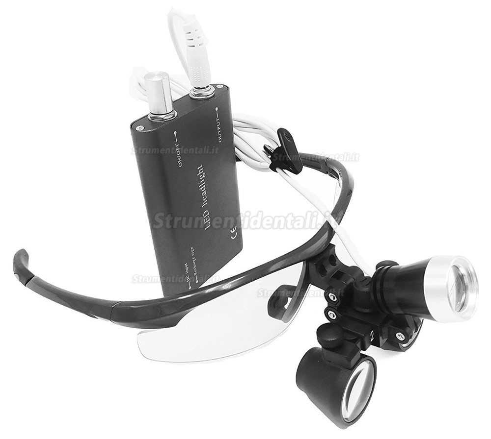 Chirurgica binoculari vetro ottico 2.5X con 3 W LED Head Light Lamp aluminum box