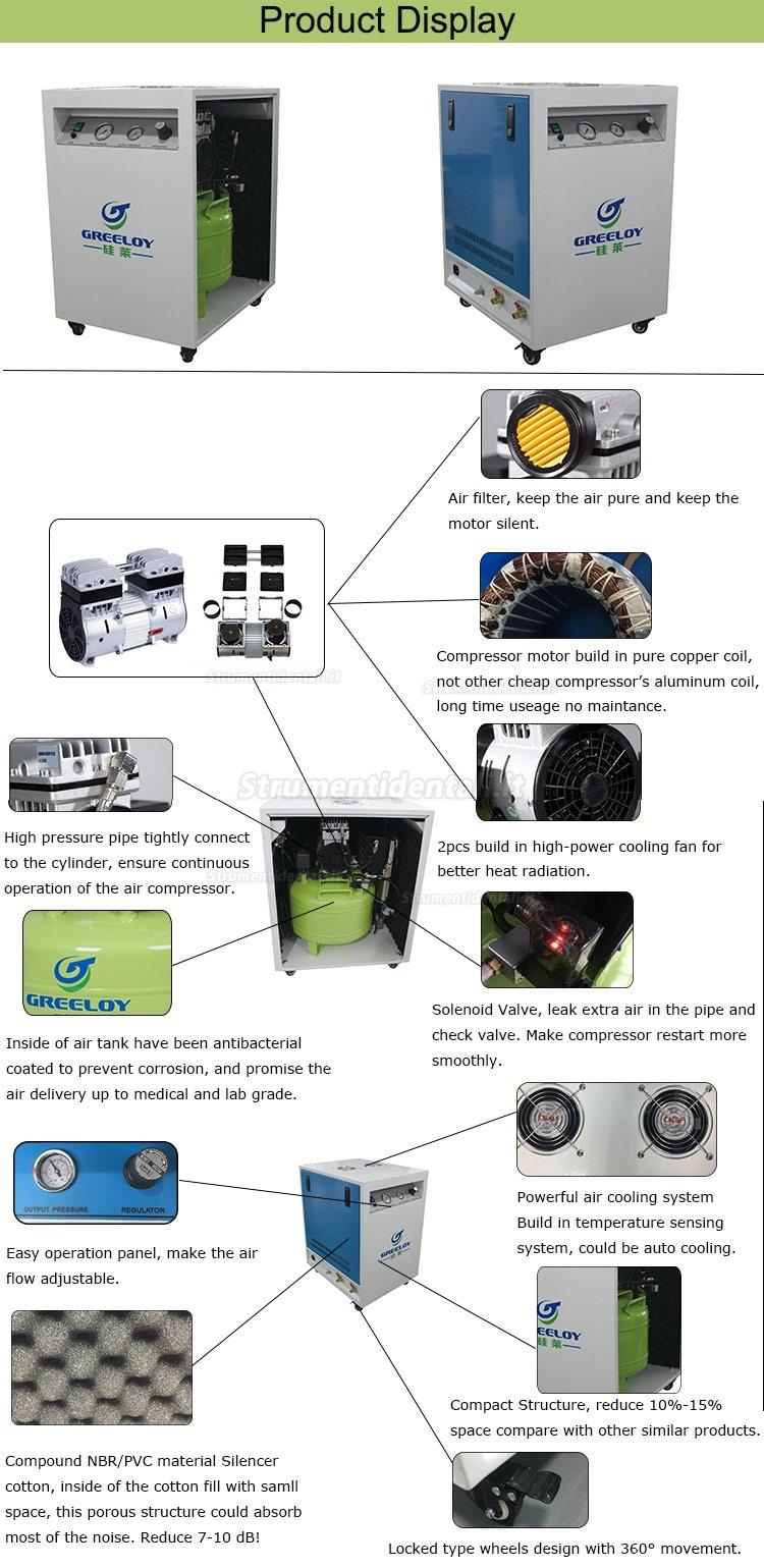 Greeloy® GA-81XY Compressore insonorizzate con aria essiccatore