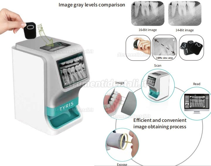 TYRIS TR-200 dentale digitale scanner ai fosfori sistemi ai fosfori con touch screen a colori reali