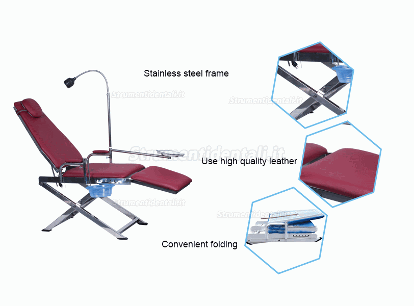 Dental Portable Folding Chair GU-P109S with LED Light Lamp + Waste Basin + Tray